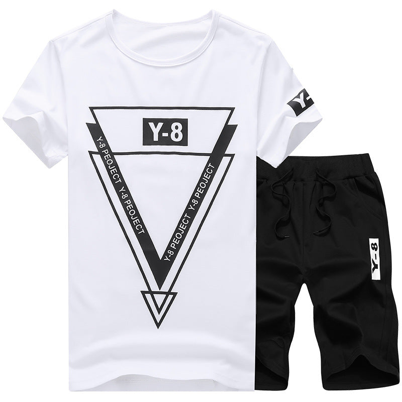 Casual Slim Personality Letter Sports Short Sleeve T-Shirt Running Men's Two-Piece Set