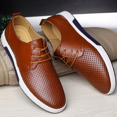 Men Casual PU Shoes Breathable Loafers Lace-up Flat Sneakers for Office Party