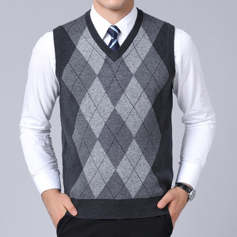 Mens Pullovers Plaid Slim Fit Jumpers Knitred Sweater Vest