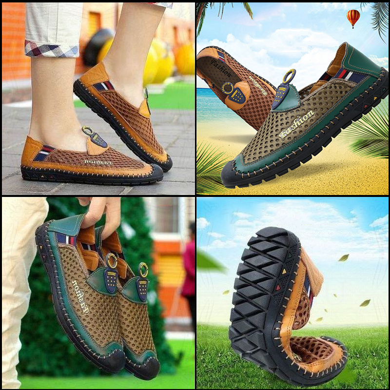 Summer Men Plus Size Air Mesh Comfortable Wearing Slip On Shoes