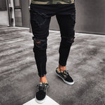 Men Black Fashion Elastic Pants