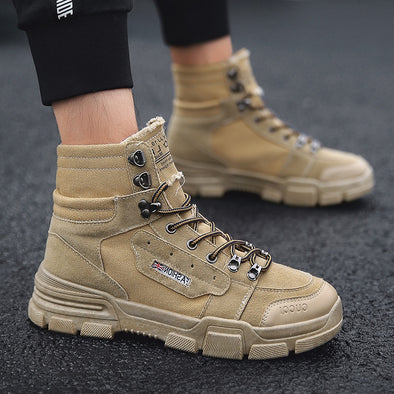 Canvas Leisure High Top Ankle Boots Male Flat Military Boots