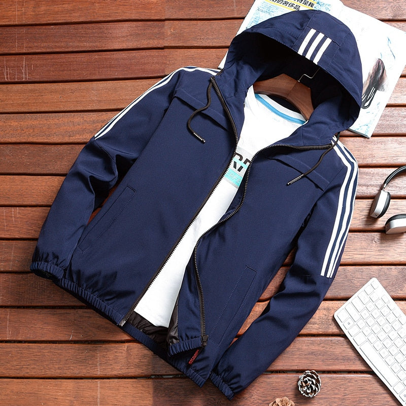 Windbreaker Bomber Jacket  Slim Fit Striped Pilot Coat
