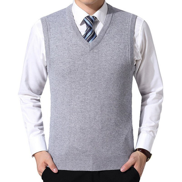 Men Wool Pullover V-Neck Solid Sweater Vest