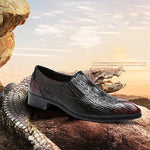 New Leather Crocodile Style Pattern Italian Designer Dress Shoes