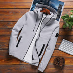 Solid Hooded Mens Fashion Zipper Outwear Slim Fit Jackets