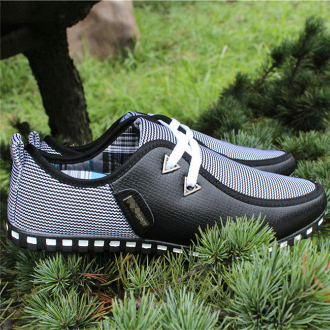Male Casual Wave Striped Patchwork Peas Shoes