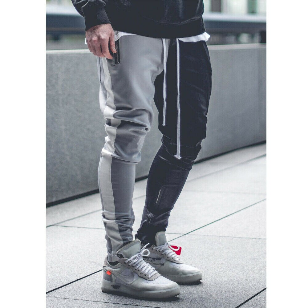 New Autumn Men Slim Fit Trousers Tracksuit Bottoms Stiped Skinny Joggers Long Sweat Pants