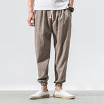 Casual Linen Knickerbockers Flax Loose Contracted Small Feet Pants