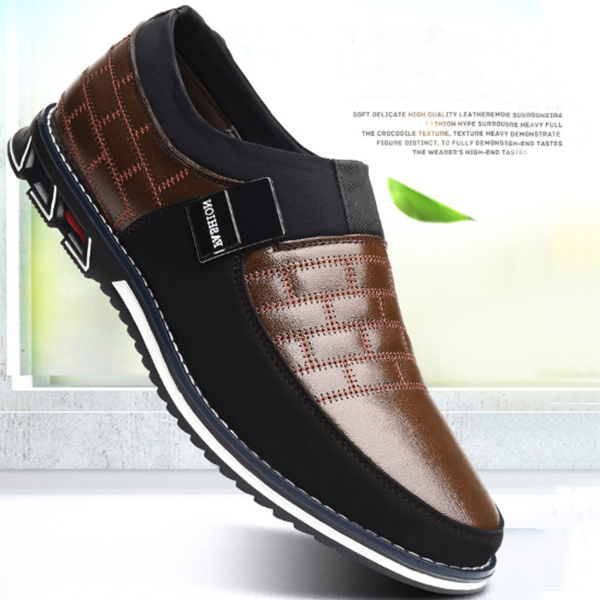 2019 Fashion Mens Genuine Leather Loafers Breathable Slip on Black Driving Shoes Big Size 38-46