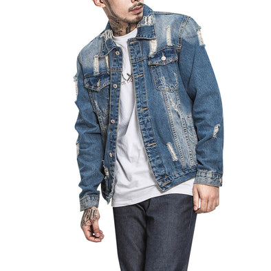 2019 Spring Fashion Hole Slim Denim Jacket