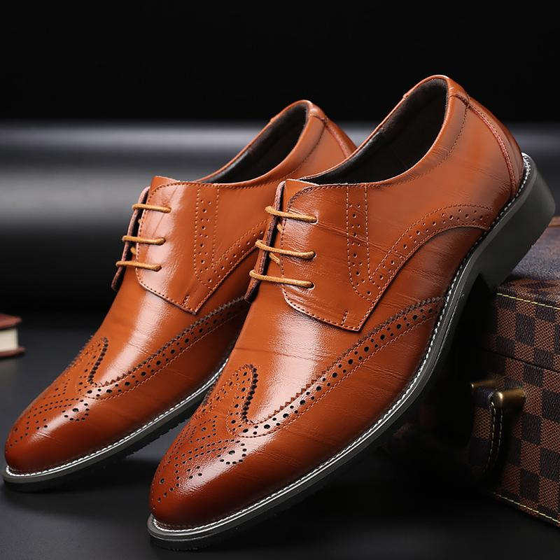 Men Business High Quality Formal Dress Brogue Carved Shoes