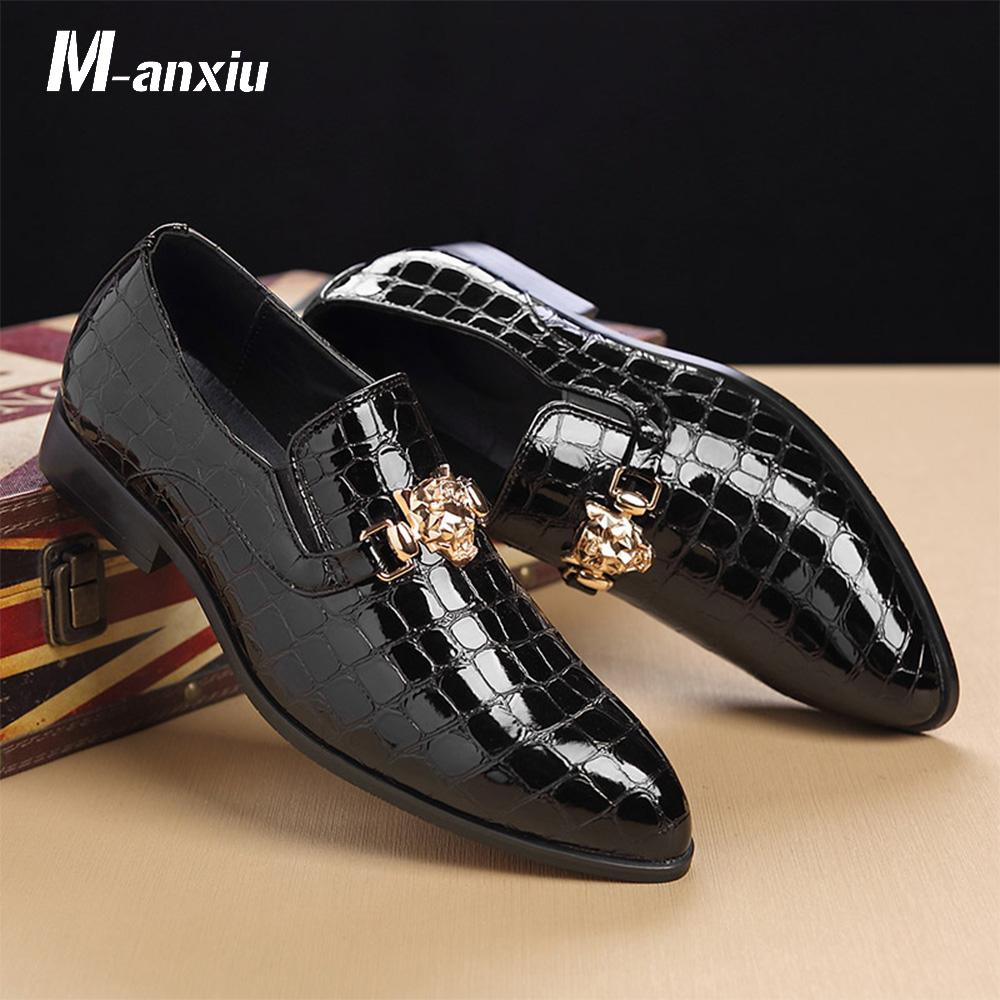New Design Luxury Crocodile Style Grain Slip-On Oxfords Shoes