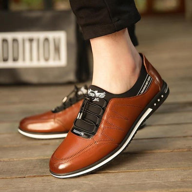 Fashion Men's Breathable Genuine Leather Low Lace-up Casual Canvas Shoes
