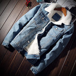 Men Plus Size Warm Fleece Denim Jacket