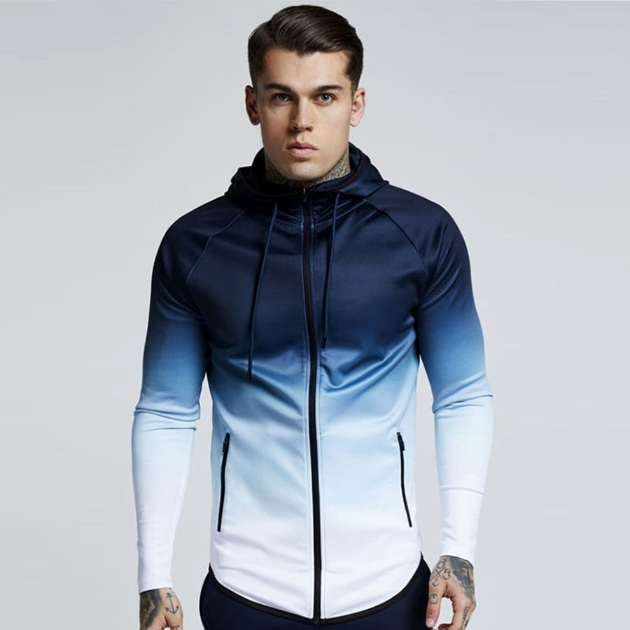 Men Slim Zipper Hooded Sweatshirt