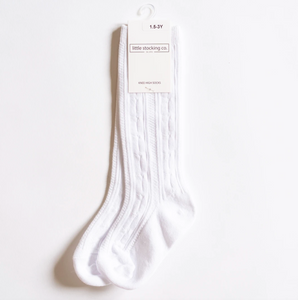 Little Stockings Co White Cable Knit Knee Highs