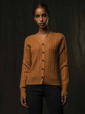 Classic Cable Cardigan_Dust Gold