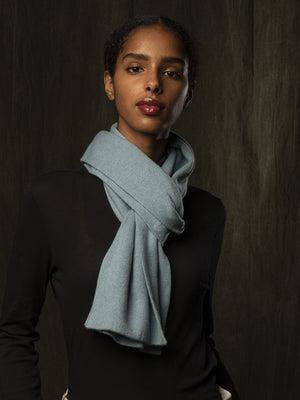 Classic Cashmere Scarf_Steel Blue