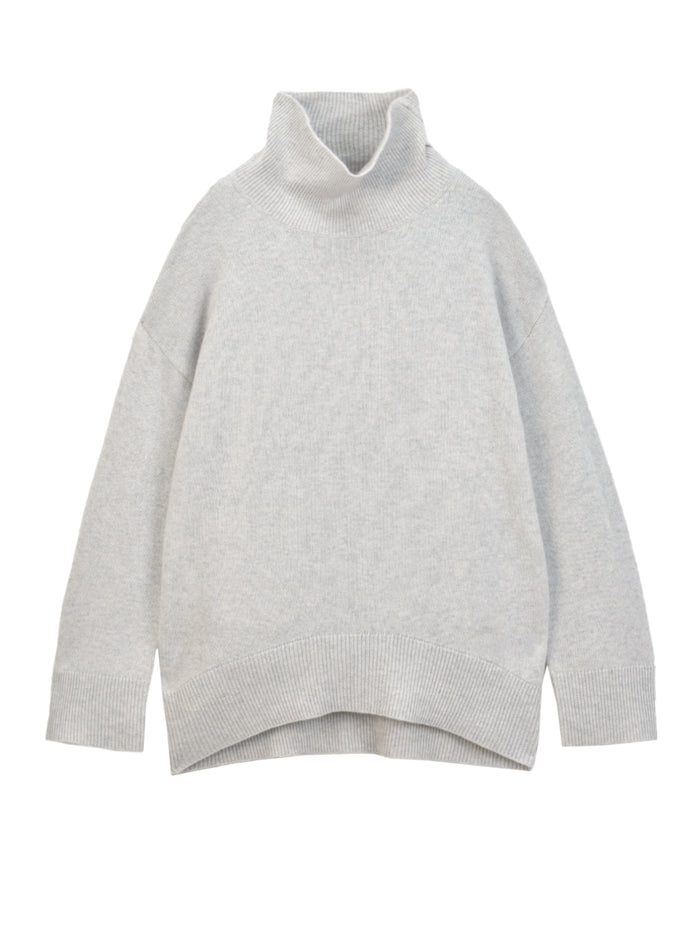 High Neck Oversized Sweater_Light Grey