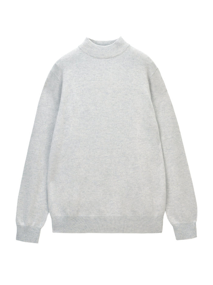 Men Mockneck Sweater_Light Grey