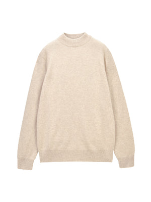 Men Mockneck Sweater_Oatmeal