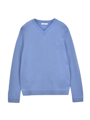 Men V Neck Sweater_Parade Blue