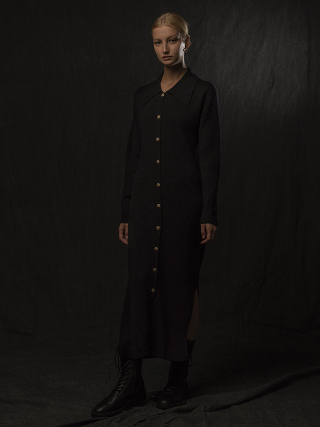 Polo Cardigan Dress_Black