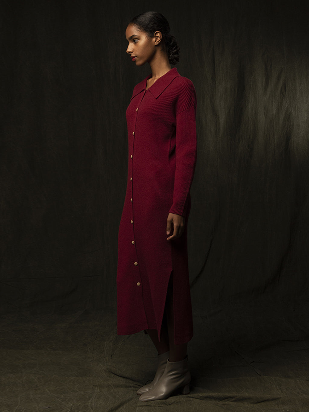 Polo Cardigan Dress_Cherry