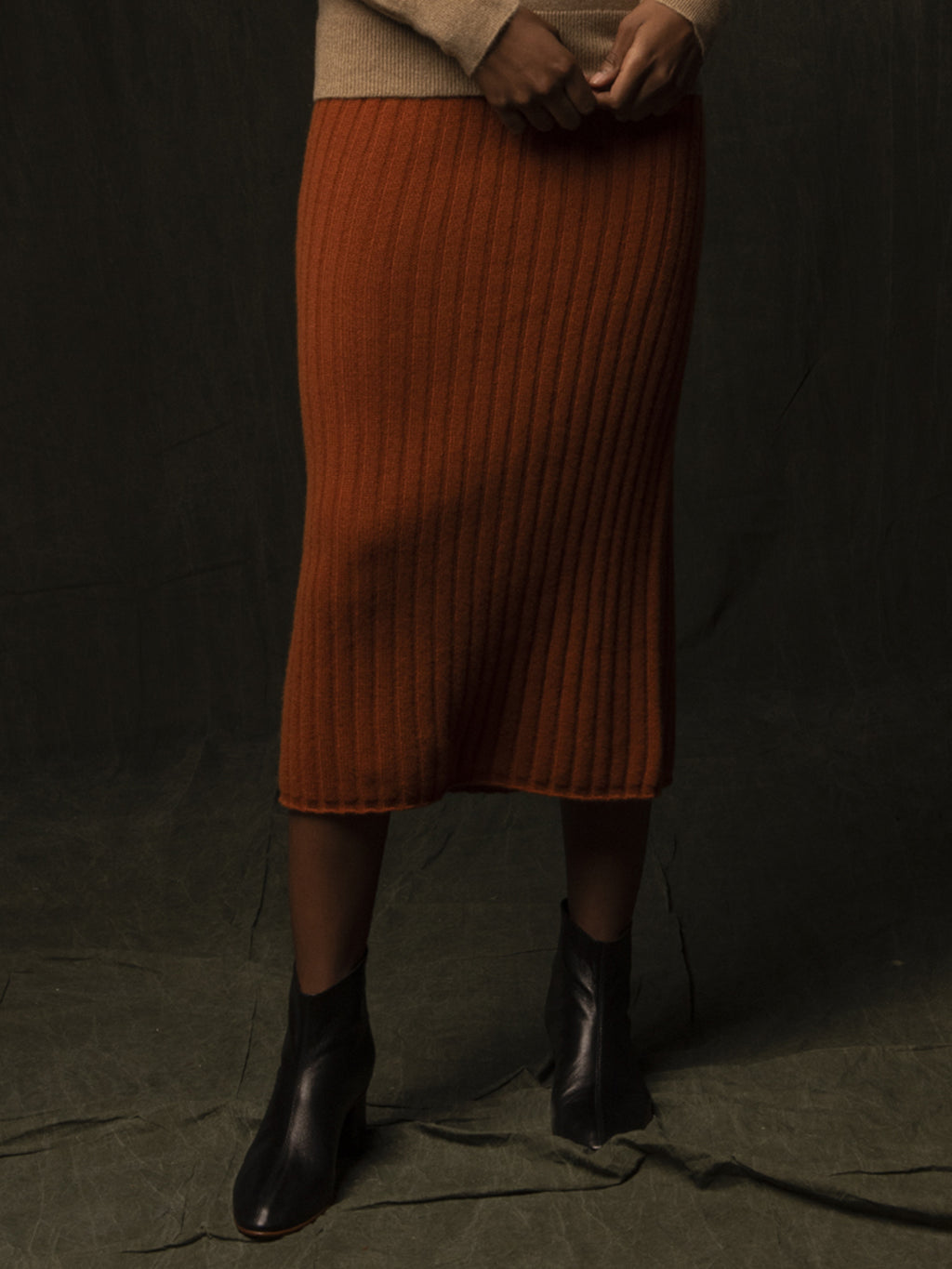Rib Midi Skirt_Heather Orange
