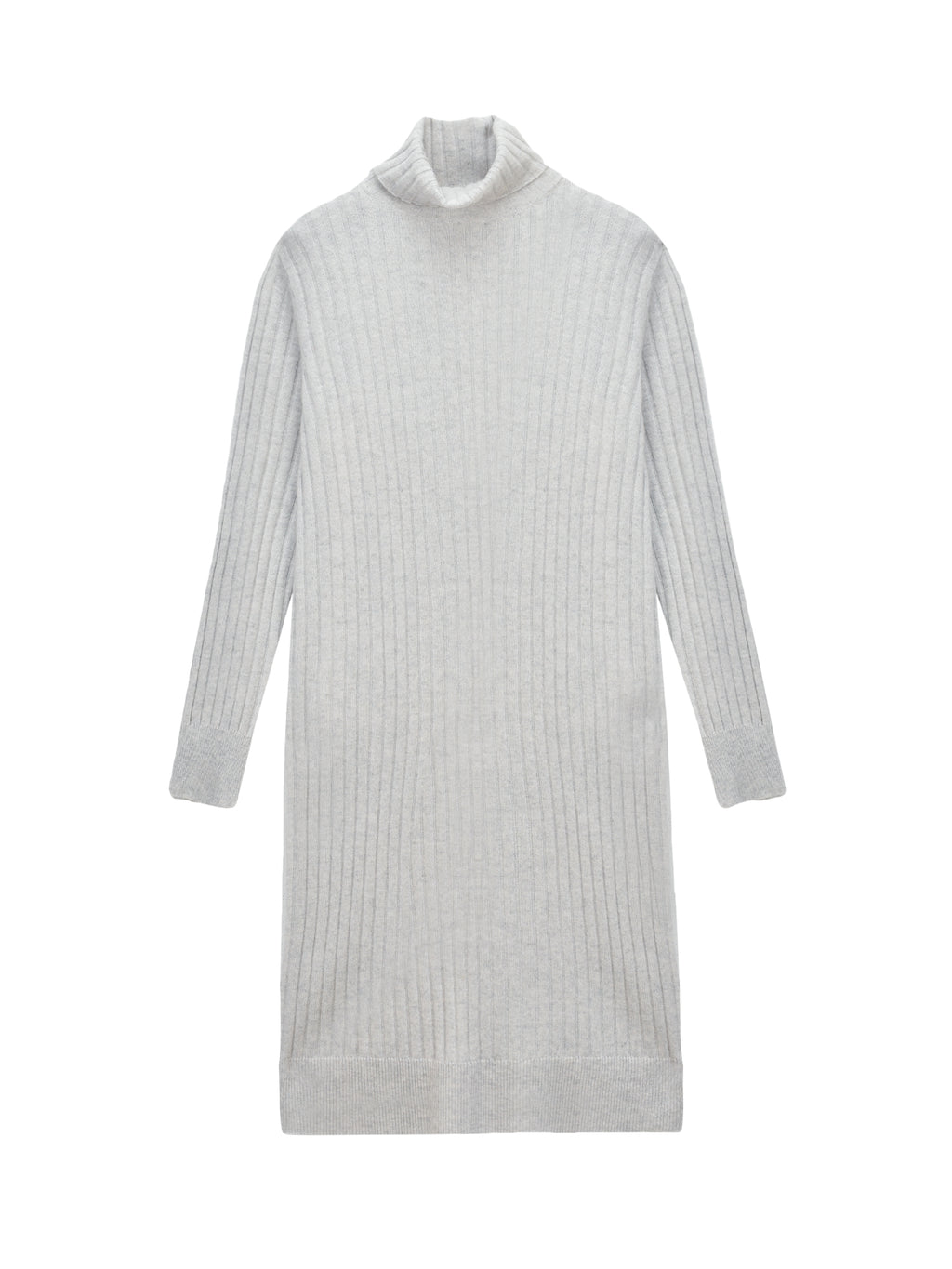 Rib Turtleneck Dress_Light Grey