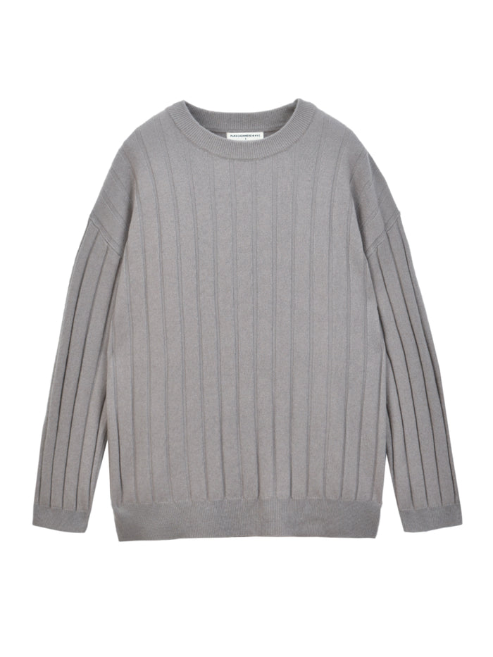 Ribbed Crew Neck Sweater_Pebble