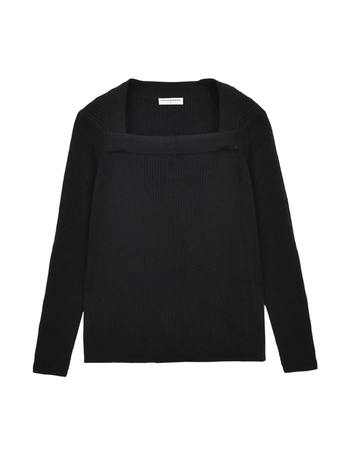 Square Neck Sweater_Black