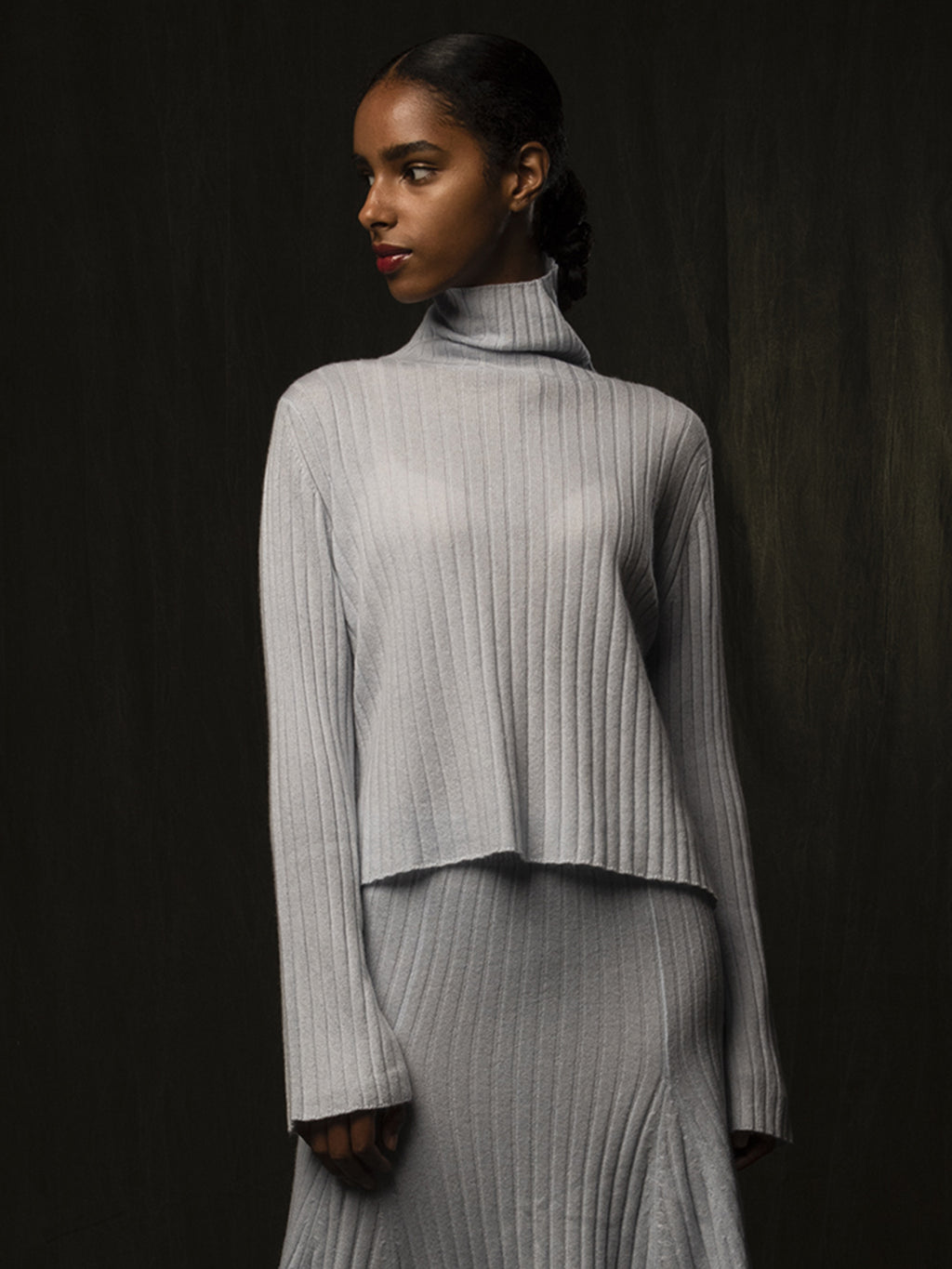 Turtleneck Rib Sweater_Baby Blue