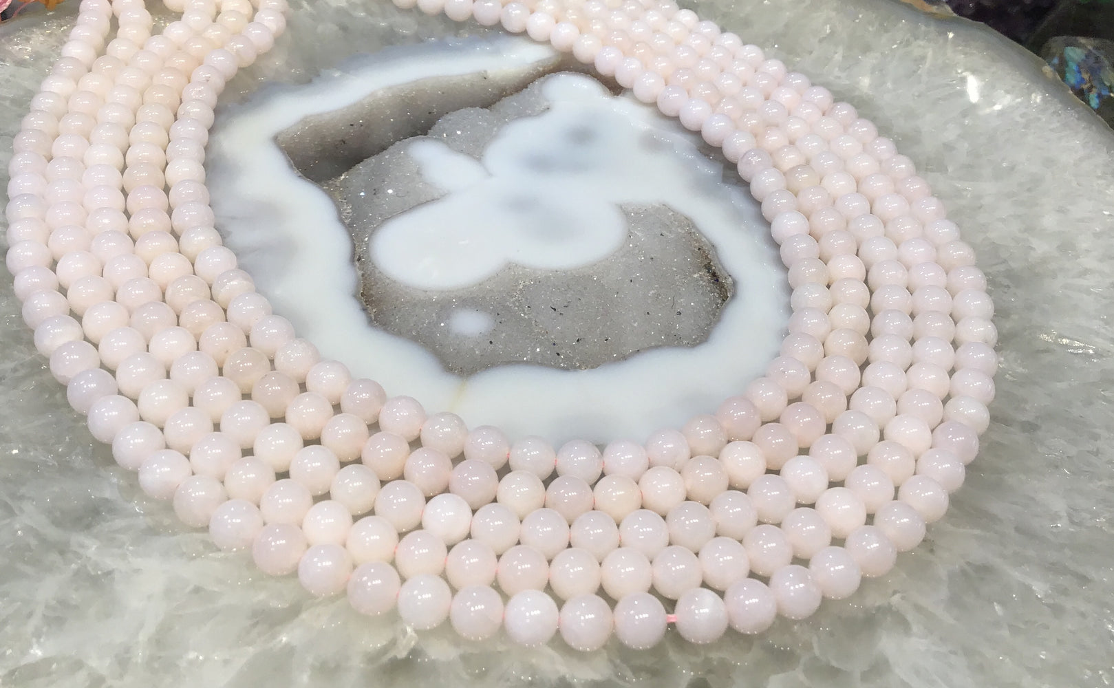 6mm Pink opal round gemstone beads