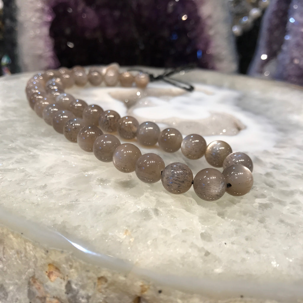 10mm Rare Brown Moonstone and Rutile Gemstone Beads