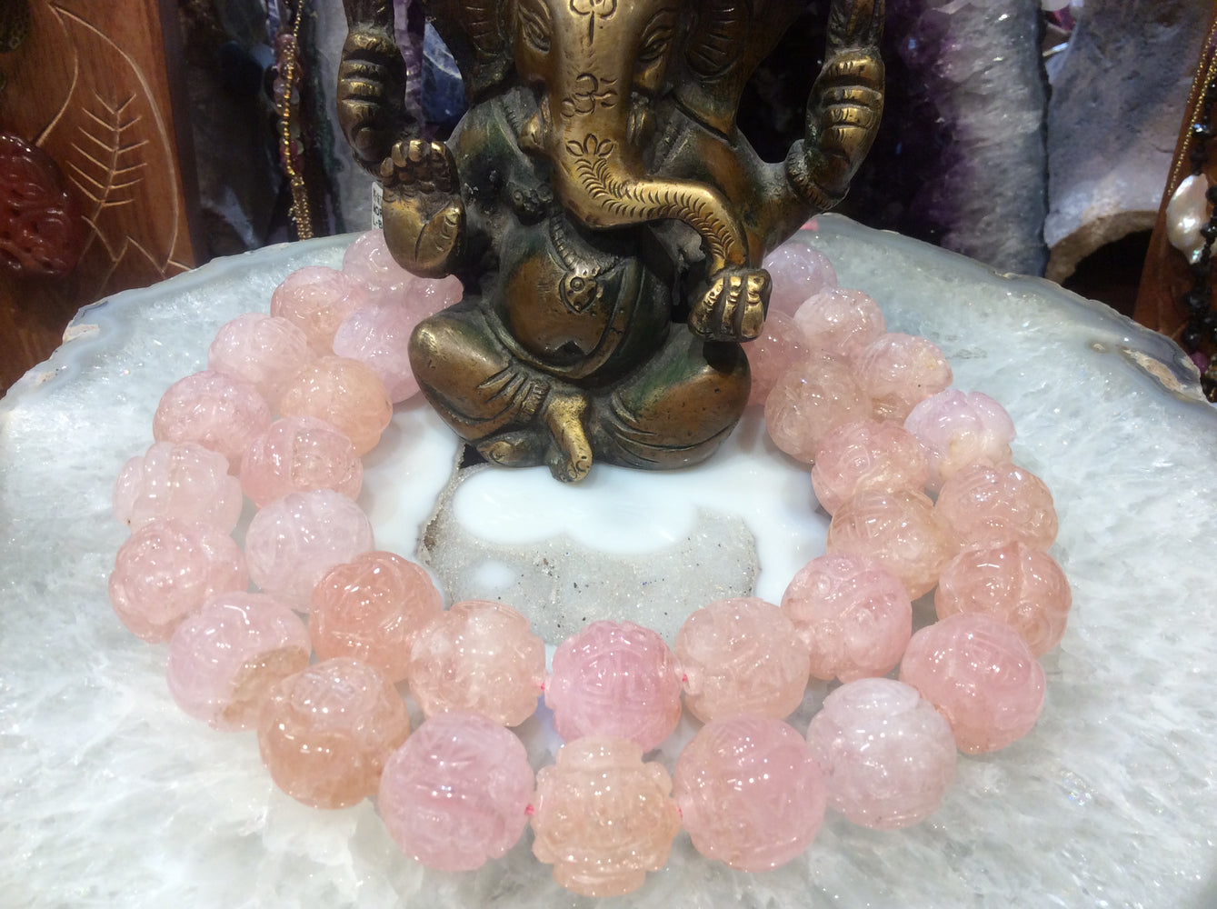 Morganite carved dragonballs