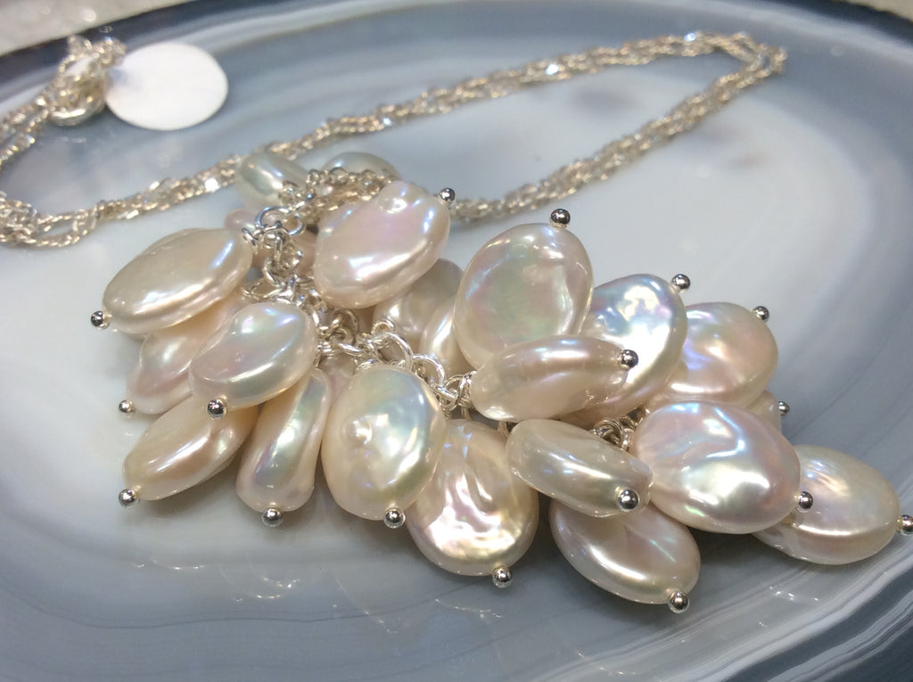 Freshwater pearl cluster sterling chain necklace