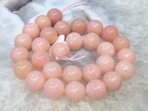 14mm Natural Pink Opal Round Gemstone Beads