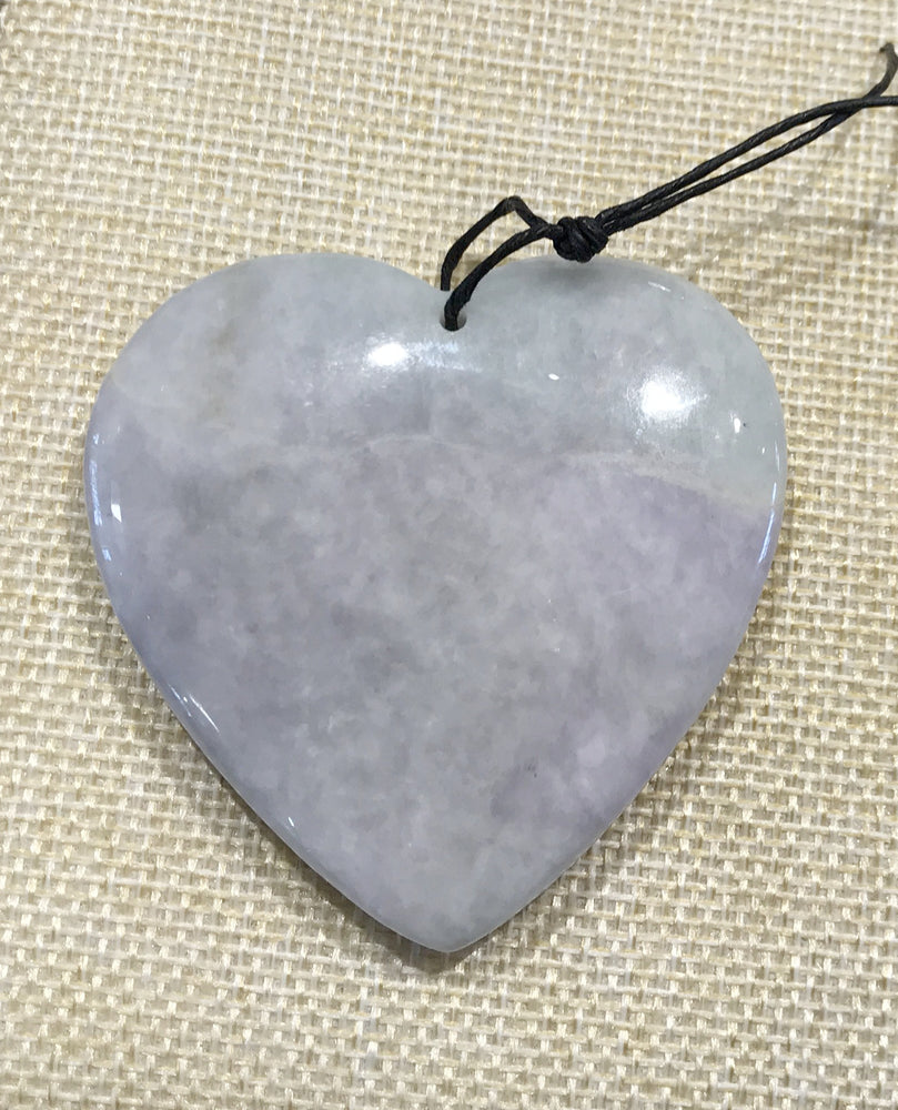 Large Purple Green Natural Jade Jadeite Heart Pendant ( 2 1/2 inches)