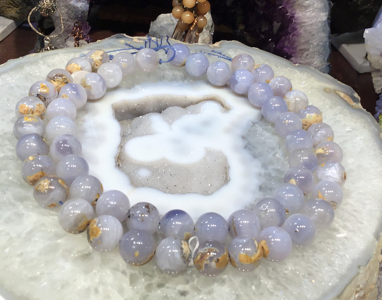 15mm Blue chalcedony round gemstone beads