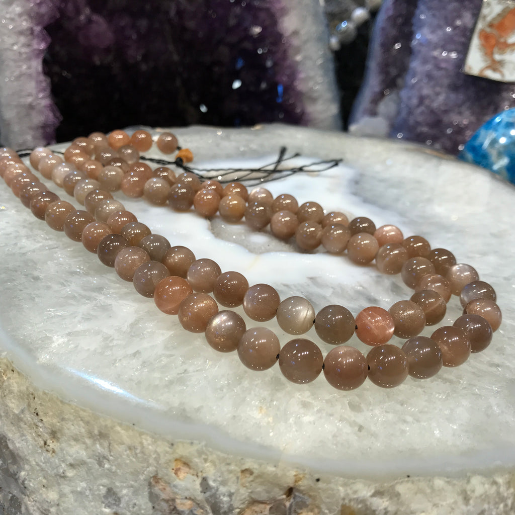 10mm Rare Peach Taupe Moonstone Sparkling Gemstone Beads
