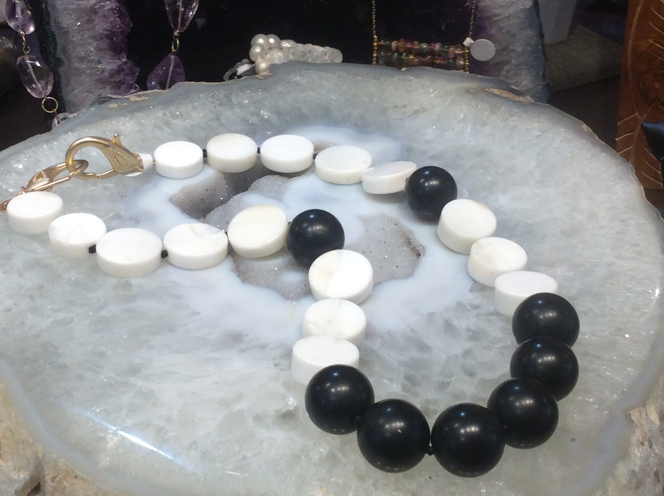 Black  jade & white agate gemstone necklace  #2