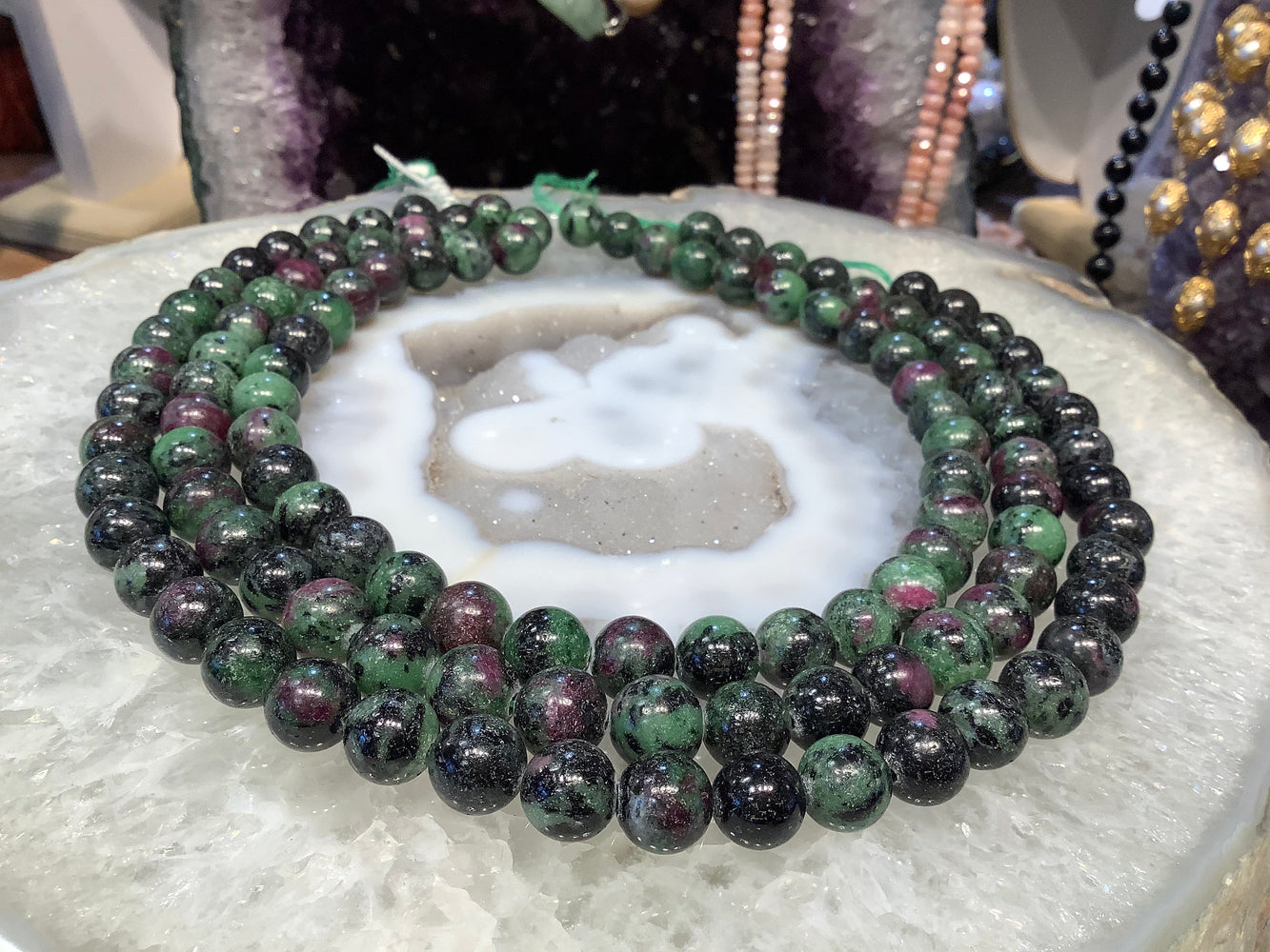 Ruby zoisite 10mm round gemstones