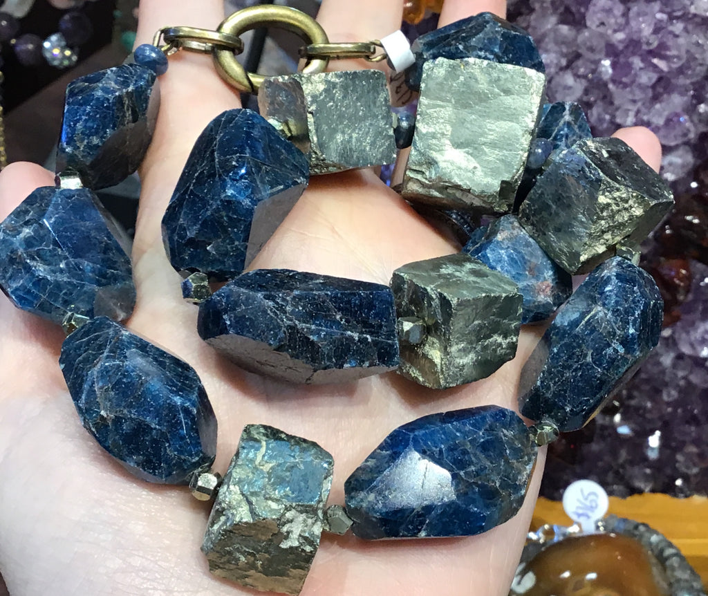 Apatite & pyrite rough gemstone necklace