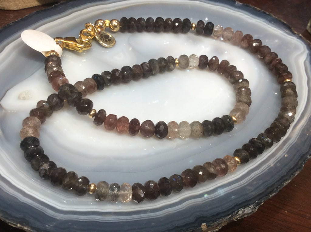 6mm Andalusite faceted gemstone rondelle necklace  wow!!