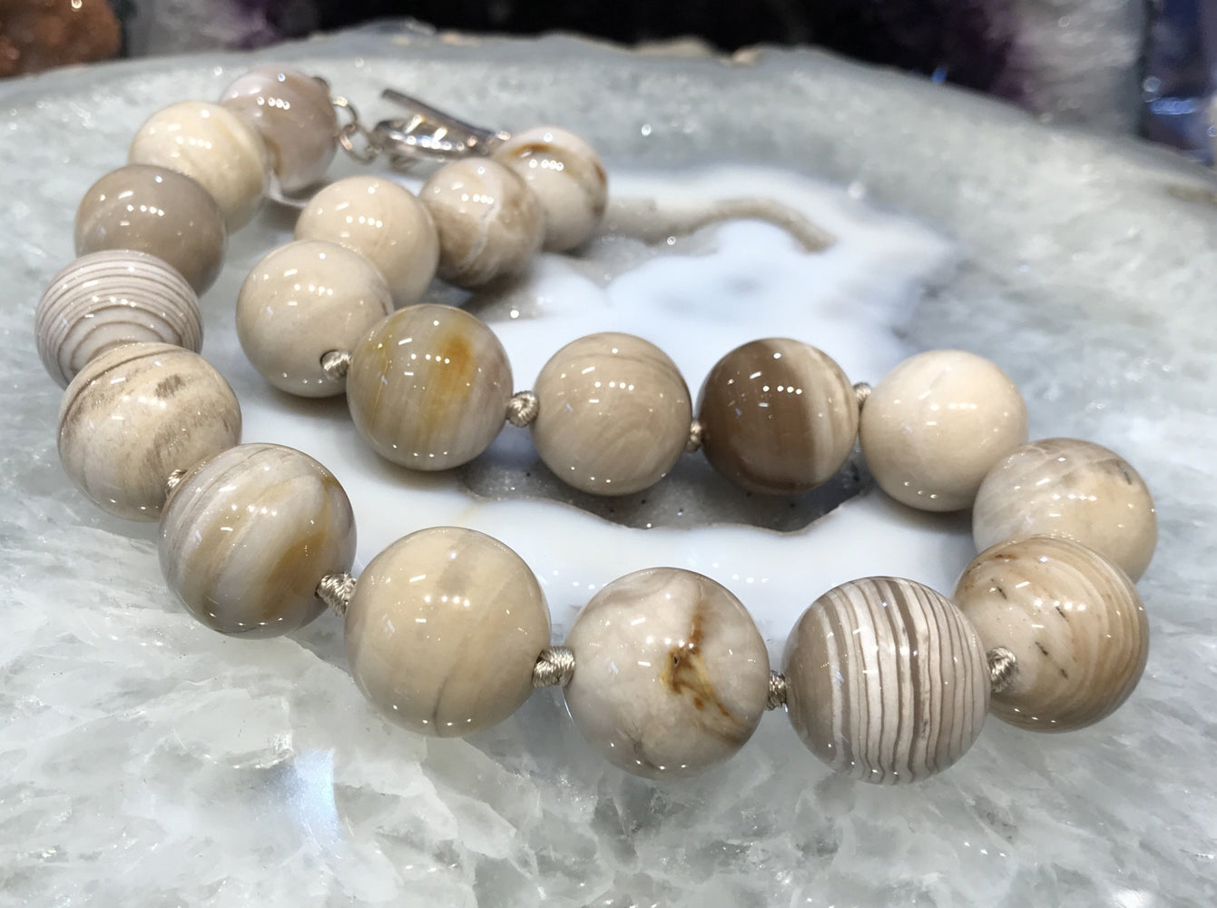 18mm Large Beige Petrified Wood Fossil Gemstone Necklace