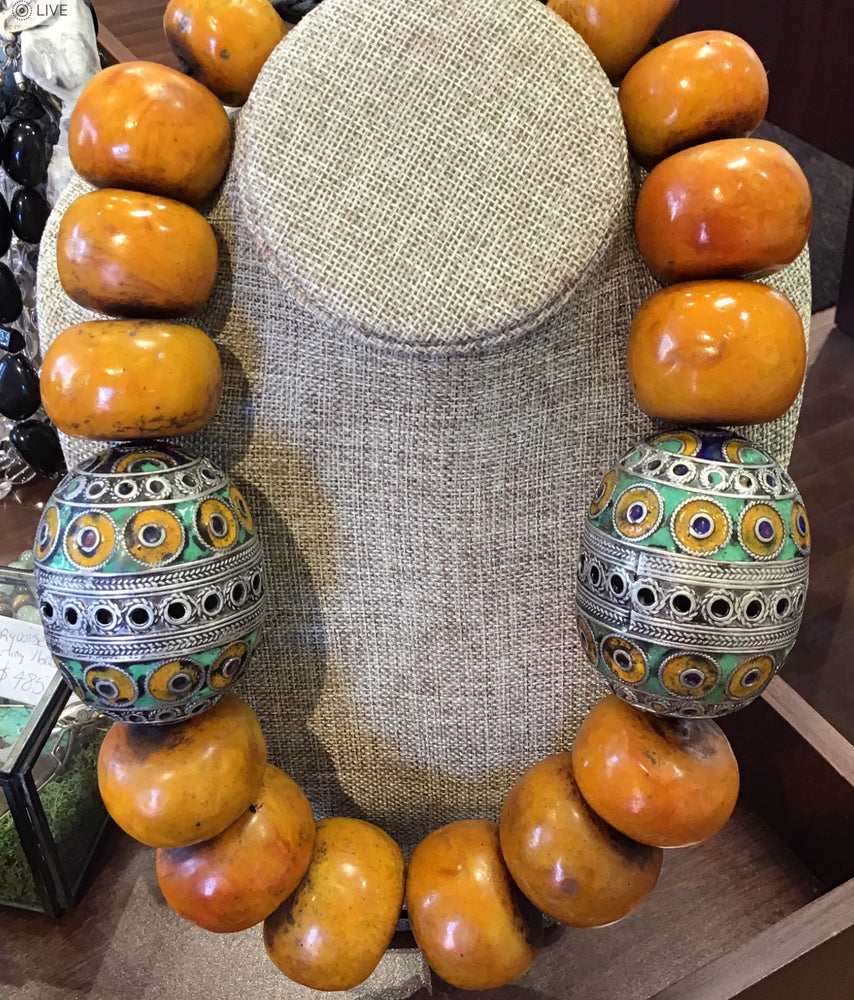 Vintage Tagamout Enamel and Moroccan Berber Amber Beads