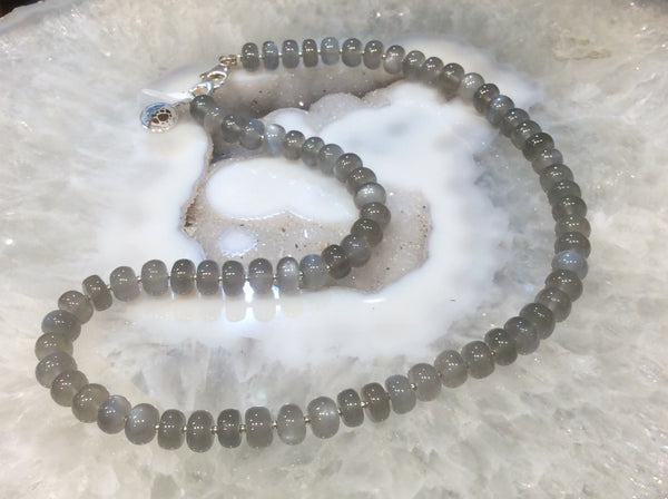 Grey moonstone rondelle necklace