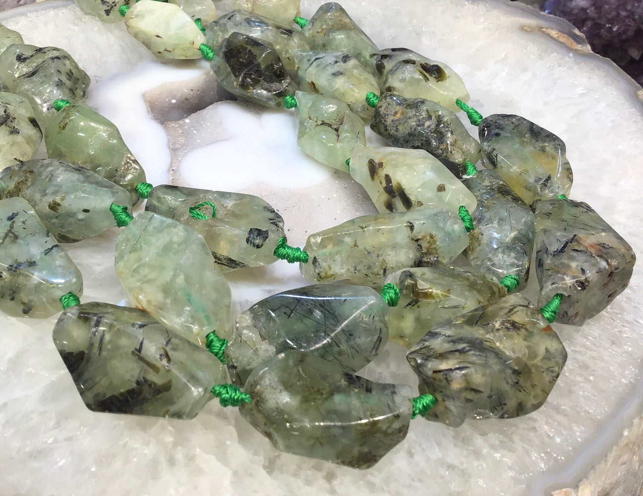 23-36mm Prehnite nugget gemstone beads
